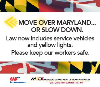Move OVer Maryland... Or slow down. Law now includes service vehicles and yellow lights.
